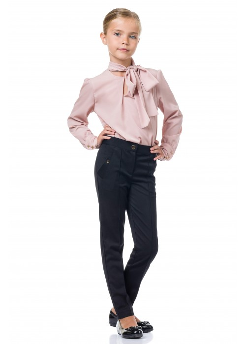 Blouse with bow crepe pink powder
