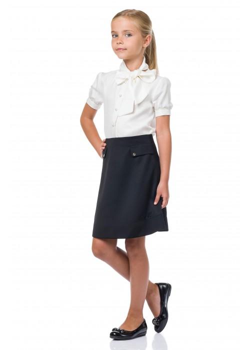 Блуза Белая с бантом кор.рукав