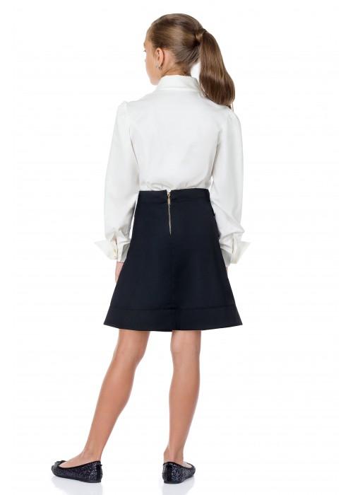 Блуза школа с жемчугом белая