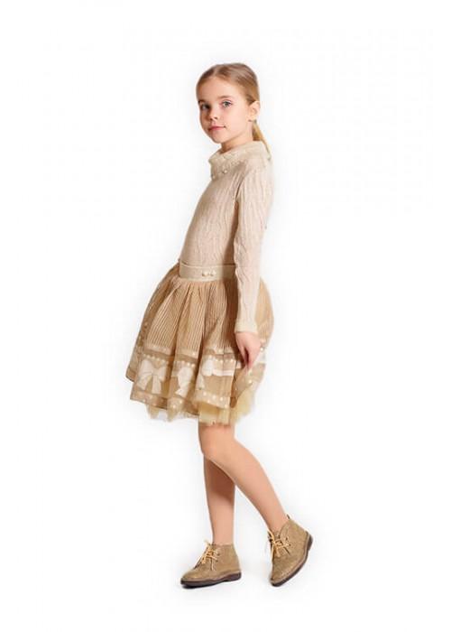 Костюм гольф и юбка с бантиками молочный И-1504 Изысканность