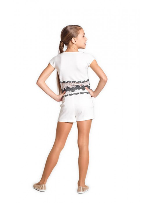 T-shirt with black and white lace bottom white