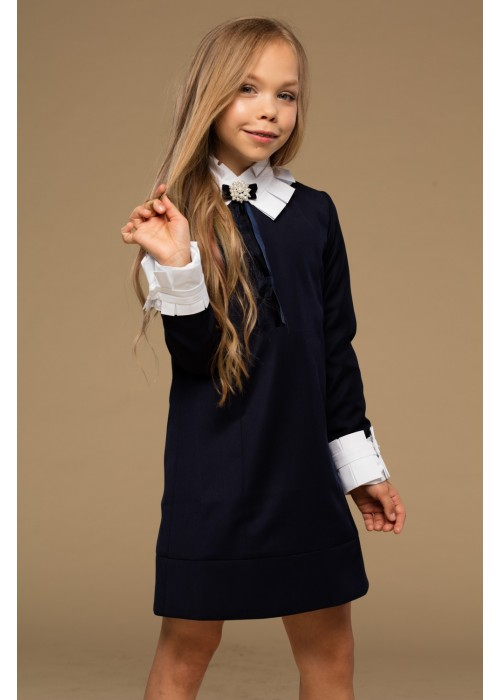 "dress ""Ingrit"" with a pleated collar blue"