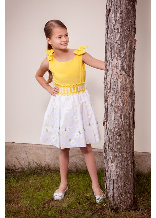 """Костюм """"Ромашка"""" майка желтый штапель и юбка коттон ромашки ЦЛ-1504 Цветущее лето"""
