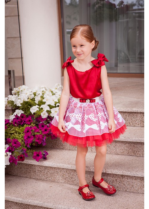 Костюм майка красный шелк и юбка кружево белое на красном фатине ЦЛ-1509 Цветущее лето