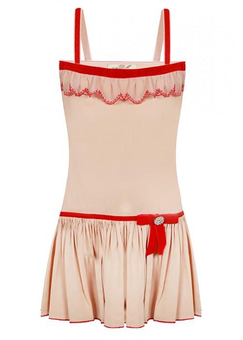 Сарафан коттон бежевый с бежево-красным кружевом ЦЛ-1512 Цветущее лето