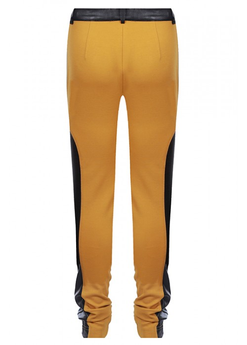 "Trousers ""Polo"" mustard leatherette"