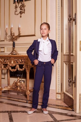 Жакет школа трикотаж сине-фиолетовый
