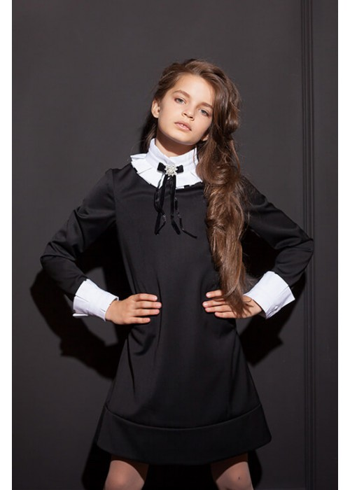 "Dress ""Ingrid"" with a collar with a fold black"