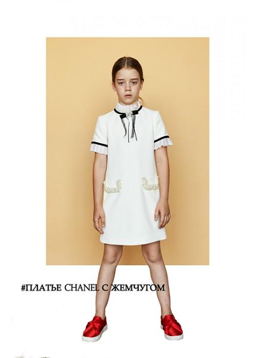 6c8f47fcf80 Платье CHANEL с жемчугом молоко