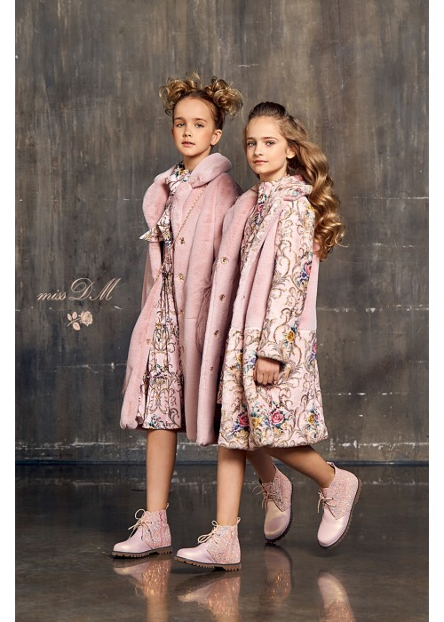 """Fur coat """"Chic"""" with flowers pink"""