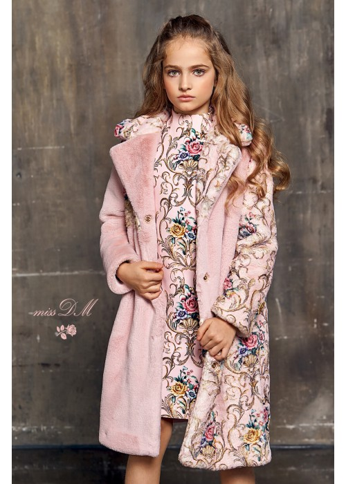 "Fur coat ""Chic"" with flowers pink"