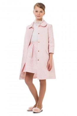 Пальто розовое с цветами