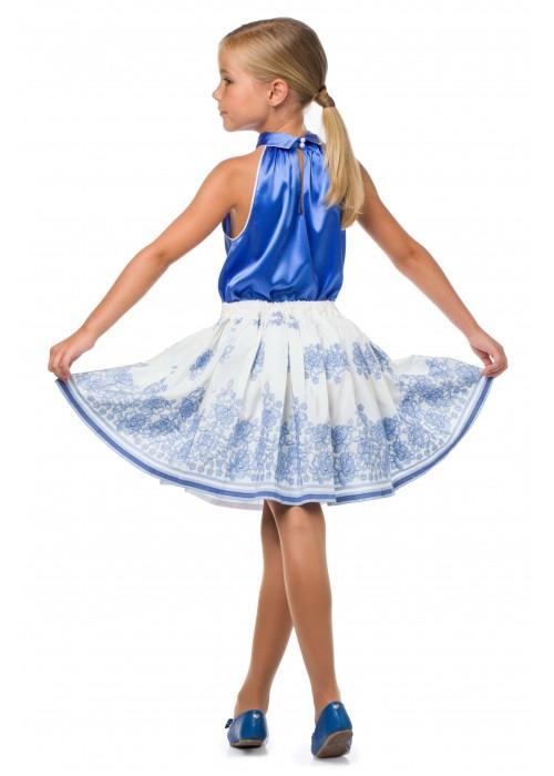 Костюм майка голубой шелк и молочная юбка с голубой вышивкой ЦЛ-1527 Цветущее лето