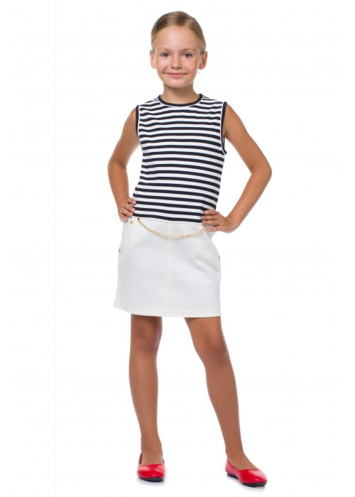 "Striped sundress ""Marine"" white"