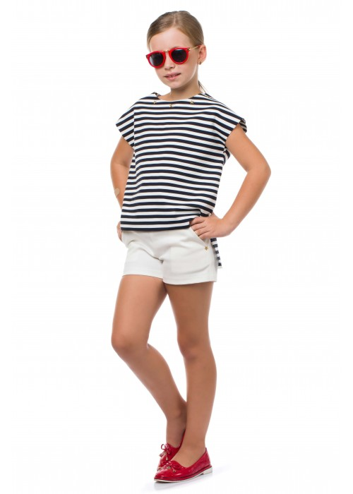 Black and white striped t-shirt with asterisks