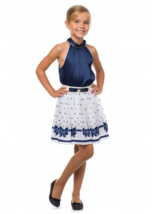 Costume skirt made of milk batiste with blue bows and a shirt made of blue silk
