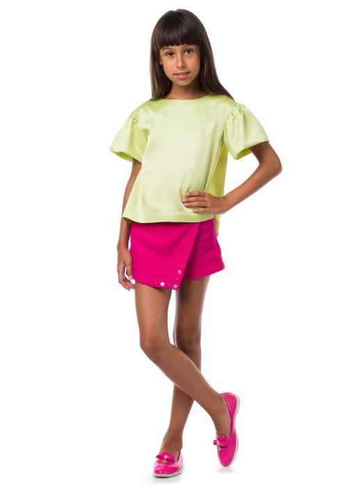 Blouse with bows lime