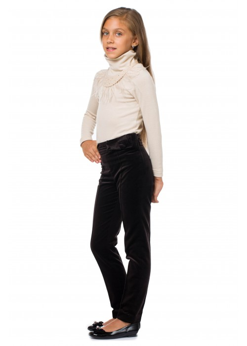 Brown velvet trousers with bow