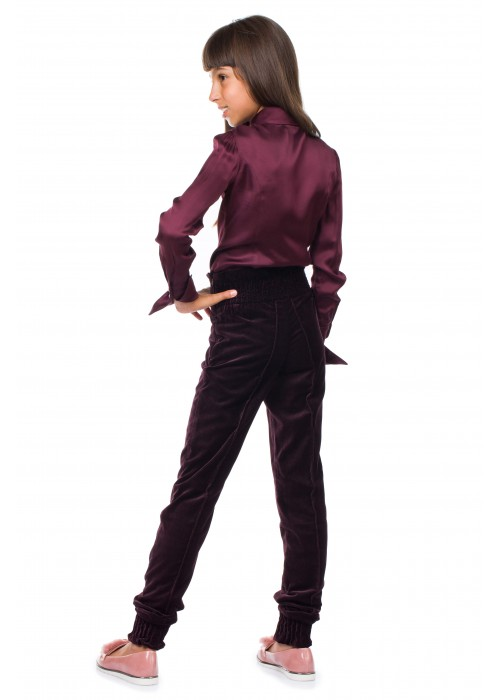 "Trousers ""Velvet"" purple with elastic"