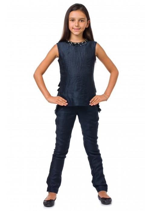 Костюм темно-синий лен МЛ-2074 Маленькая леди