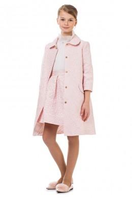 Пальто розовое с цветами МЛ-2027 Маленькая леди