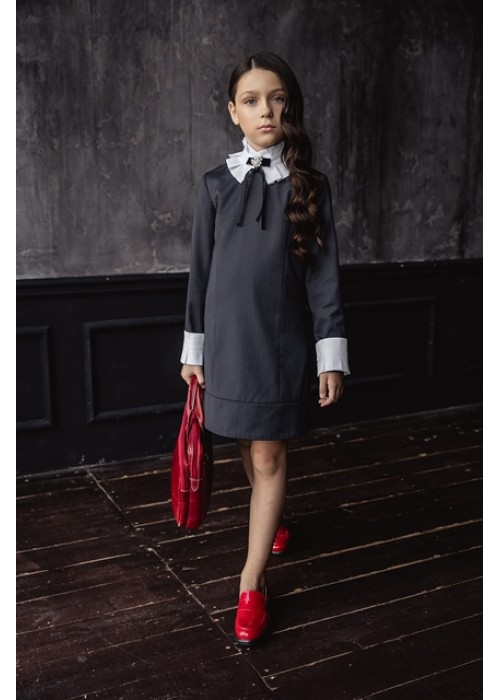 """Dress """"Ingrid"""" with a collar with a fold black"""