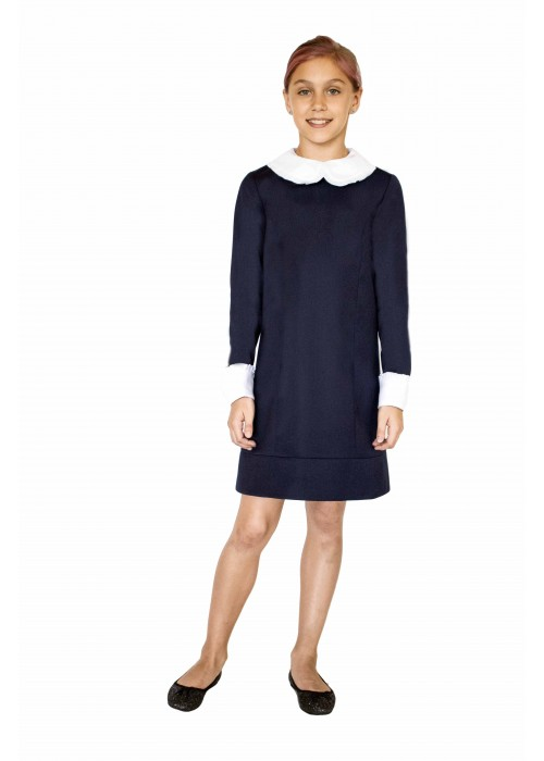 "Dress ""Ingrite"" blue with two sets of collars and cuffs"