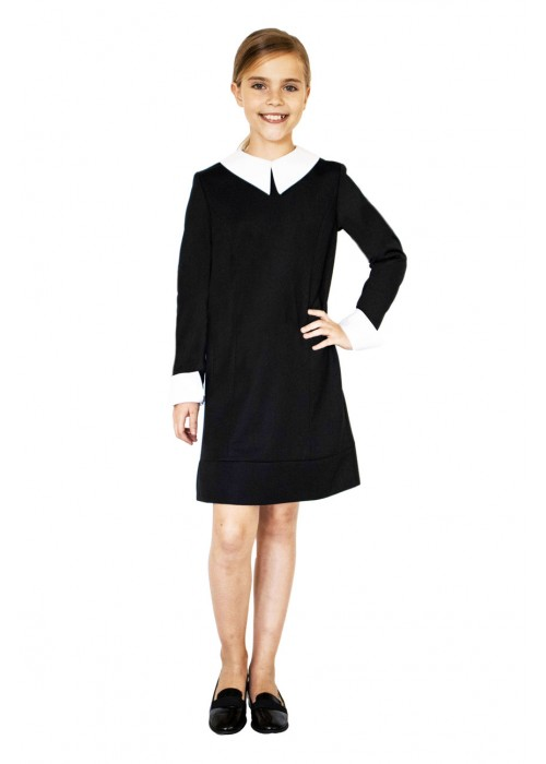 "Dress ""Ingrit"" black with two sets of collars and cuffs"