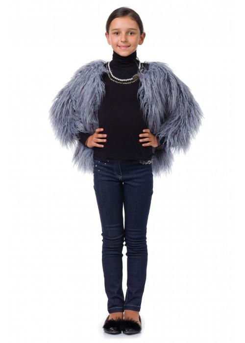 """Fur coat """"Lama"""" blue"""