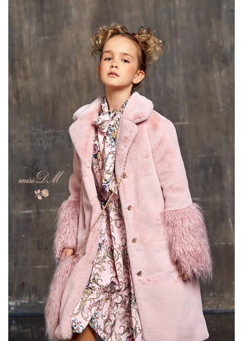 Shiko fur coat with pink llama